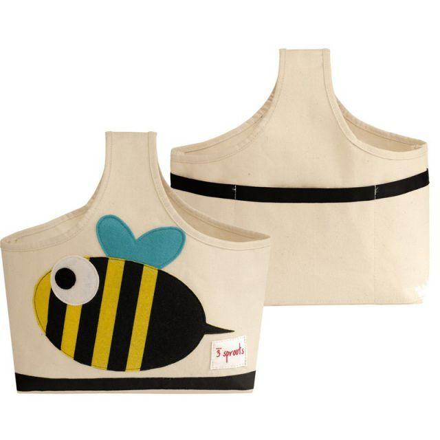 Aufbewahrung im Kinderzimmer | Aufbewahrungstasche Biene mit Henkel, 35 x 34 x 13 cm, von 3 sprouts - itkids Online Store