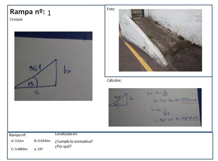 """Rampa situada en la calle """"Toscas del Romero"""". Sirve para acceder a la azotea de una ermita. No cumple la normativa, puesto que su pendiente es de 15º. Para conseguir los datos de la rampa, hemos medido la """"hipotenusa"""" (en este caso la pendiente). Luego, usamos una aplicación para móviles que mide el ángulo de la pendiente. Para hallar los otros puntos, usamos fórmulas trigonométricas."""