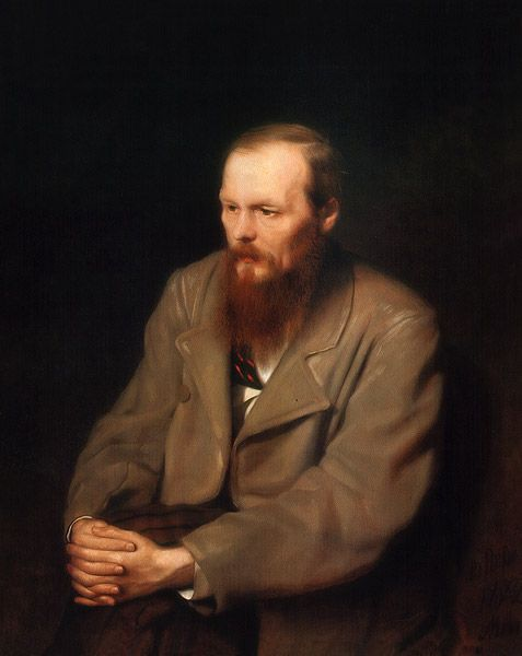 Russian Painter: Vasily Perov, (1834 - 1882)   'Portrait of Fyodor Dostoevsky' 1872    Oil on Canvas