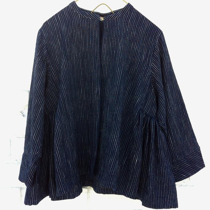 Injiri > Indigo Pin Stripe Cropped Jacket at New High (M)art