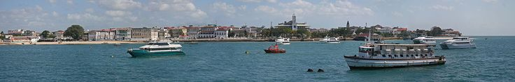 A panorama of Unguja island, particularly the Stone Town taken from the Indian Ocean.