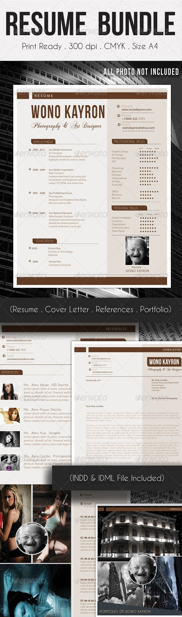 Resume Bundle Templates with Portfolio 23 best