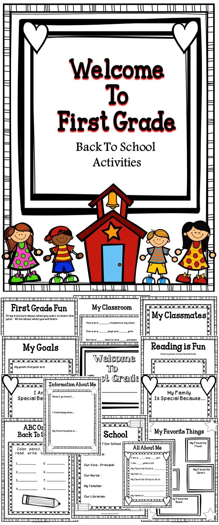 Welcome To First Grade - A fun Back To School teaching resource for first graders. #tpt #education