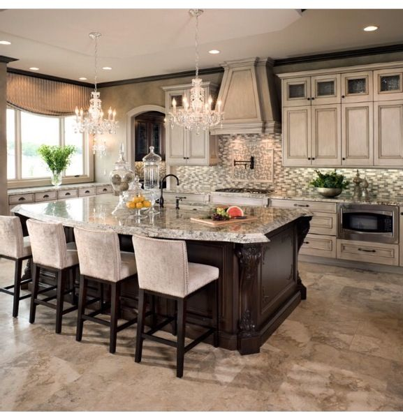 dark cabinets and lighter granite. not the light cabinets in the back