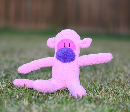 sock monkey / Handmade pink and purple soft toy / gift