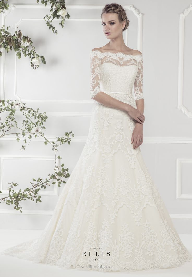 Cool Neck and sleeves Ellis Bridals Rose wedding dresses collection Style uElegant Off the Shoulder Lace A line Dress with Delicate Three Quarter