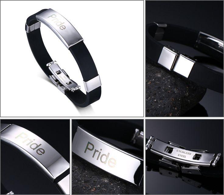 Bracelets #GayPride bijoux pour hommes en acier inoxydable et caoutchouc de silicone