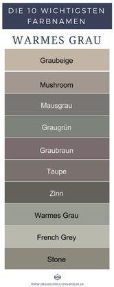 Warme Grautöne sind Graubeige, Mushroom, Mausgrau…