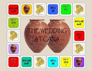 "The Wedding At Cana Game (for preschoolers ""take a jar"" and ""give a jar away"" refer to pile in the middle (we want no tears) and attempting to answer a question earns you a jar (and then use the opportunity to review if they get the answer incorrect)"