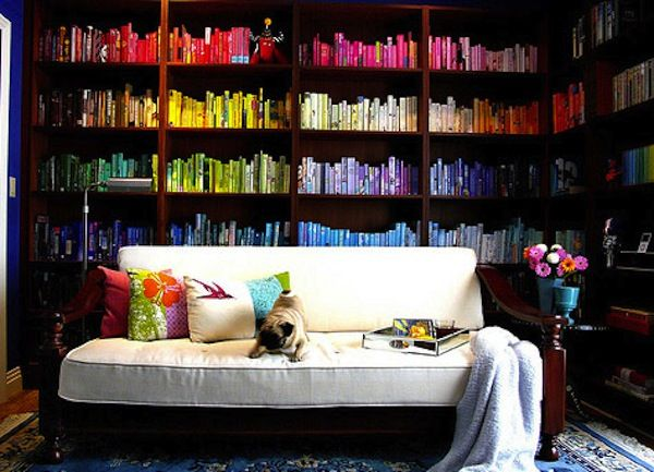LOVE LOVE LOVE: Bookshelves, Idea, Home Libraries, Books Shelves, Rainbows, Libraries Design, Pugs, Bookca, Colors Coordinating