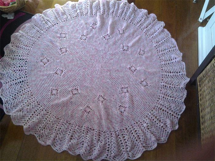 Crochet Baby Blanket Pink white mauve 130cm diameter   Frilly Daisy   madeit.com.au