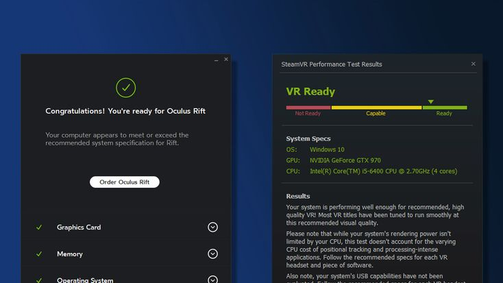 Check if Your PC is VR Ready for Oculus Rift, HTC Vive & Windows 'Mixed Reality' VR Headsets  ||  With content for Oculus Rift, HTC Vive and Windows 'Mixed Reality' VR headsets maturing since their respective launches, there's more reason than ever to finally jump into VR—especially now that headsets have come down in price. For the gamers out there…