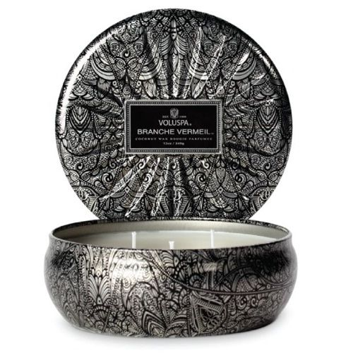Voluspa - Branche Vermeil - 3 Wick Candle in Tin