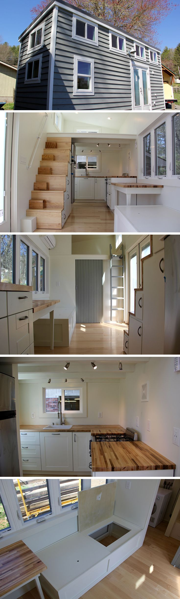 The Chickadee tiny house on wheels is an 8′ × 24′ design by Brevard Tiny House…