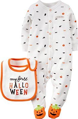 "Carter's Sleep n Play Infant Halloween Outfit~ Adorable one piece Halloween print infant button down sleeper with pumpkin feet and ""My First Halloween Bib"""