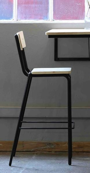 Materials: Mild steel structure, hardwood seat &backrest Finish: Monocoat oil,Powder-coated mild steel Dimensions:370x x 330d x 750 seat height x 1050h