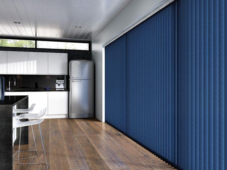 Create a stunning effect with deep blue vertical blinds