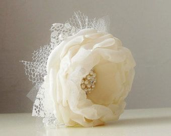 Wrist Corsage,  Wedding Corsage,  Fabric Flower Corsage,  Pearl Bracelet,  Ivory Corsage - Made to order