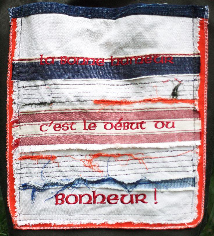 """casual bag BOHHEUR - embroidery front side """"la bonne humeur c`est le debut du bonheur"""""""