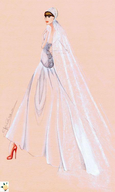 Vestdo de novia en gazar abrochado en la espalda con rosas