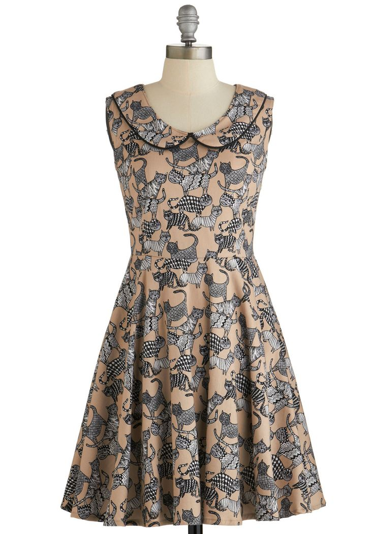 How Does It Feline? Dress. Theres nothing like the quirky cat print of this A-line dress by Nooworks to put you in a chipper mood! #modcloth