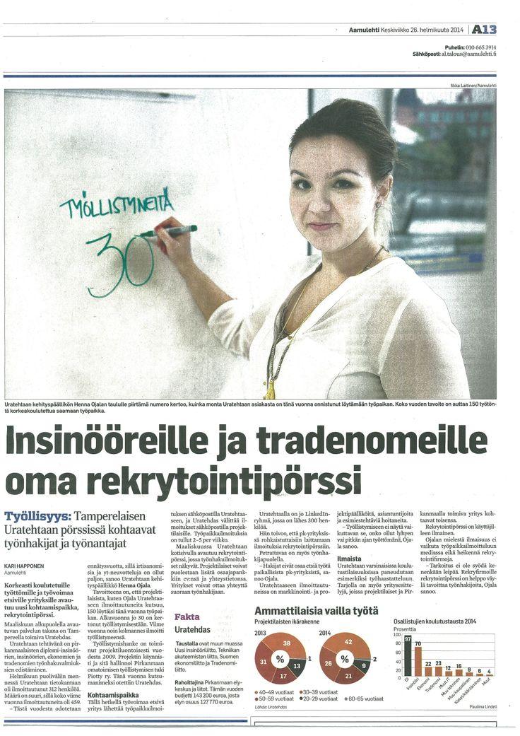 """""""Insinööreille ja tradenomeille oma rekrytointipörssi"""" artikkeli Aamulehdessä 26.02.2014."""