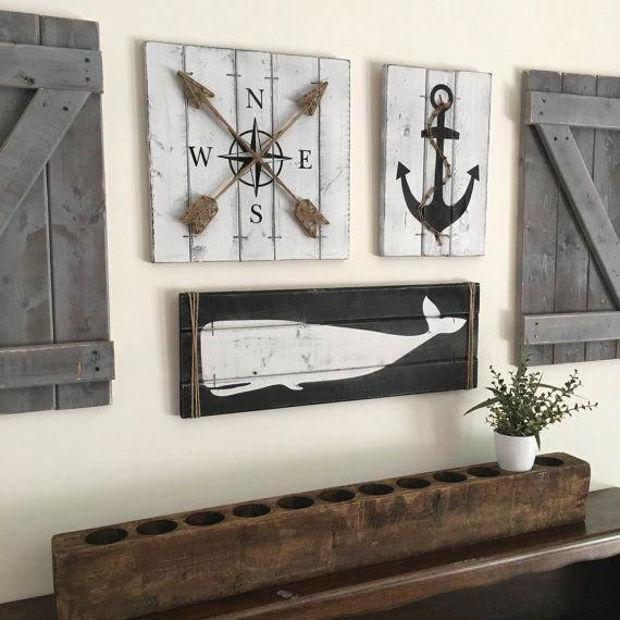 Anchor Wall Hanging Decor Beach Nautical Rustic Coastal Plaque Wooden Gift New