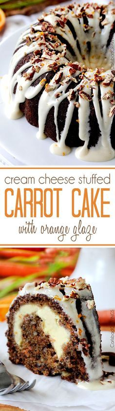 Super moist, spiced Carrot Cake stuffed with sweet Cream Cheese Filling and drizzled with sweet and tangy Orange Cream Cheese Glaze that will have you drinking it straight from the bowl. #carrotcake #easterdessert