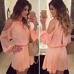 Pink Off Shoulder Chiffon Women Mini Dress - Daisy Dress For Less - 1