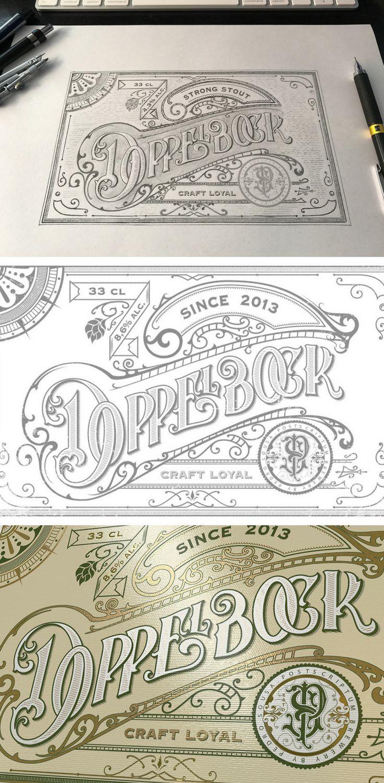 Hand-lettered craft beer label design inspired by vintage style.