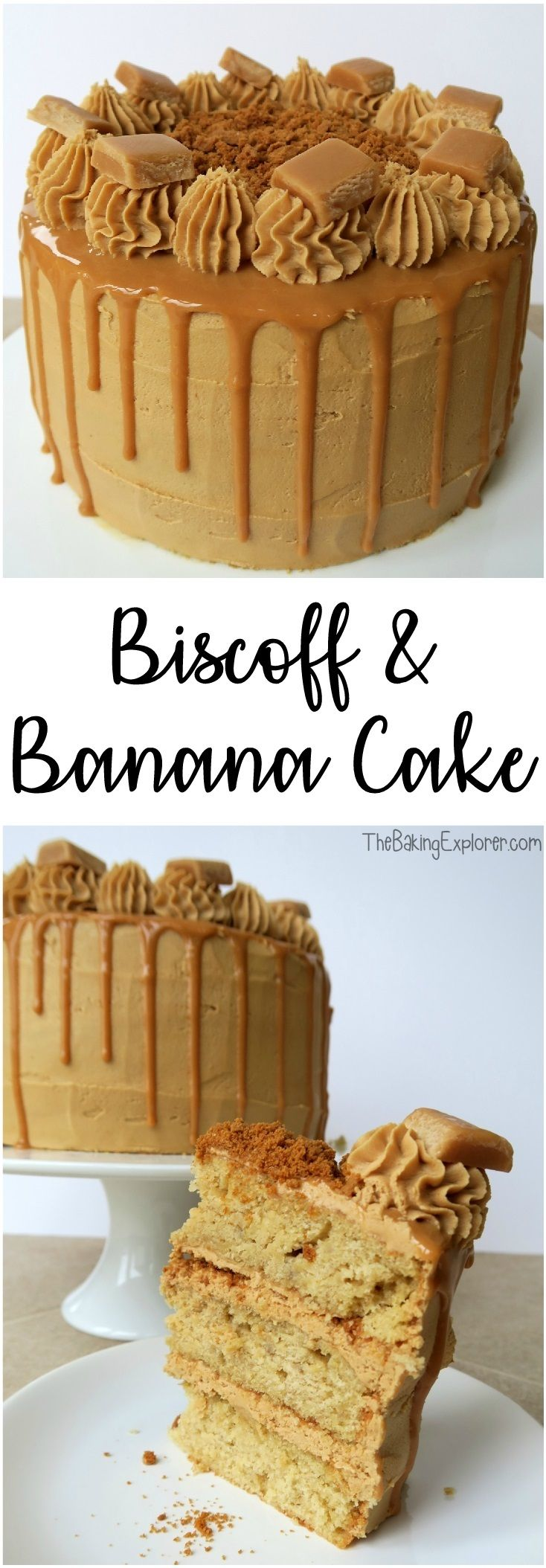 Recipe for a three layered banana sponge, filled and covered in Lotus biscoff spread buttercream, caramel sauce dripped down the sides and topped with fudge