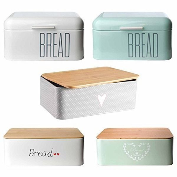 Brotkasten Brotbox Metall Bambus Brotbehälter mit Deckel Bambusdeckel Brot Aufbewahrung Box Kiste (Bambusdeckel-Mint)