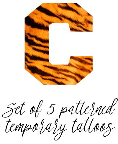 """PRE-ORDER TODAY! """"C"""" Temporary Tattoo - Tiger Stripe Pattern - Set of 5"""