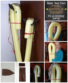 Its a Western Cowboy Party - Make your own Pool Noodle HorsesMaterials Needed:  Pool noodle elastic band - * I used a thick one that comes on veggies because it was nice and strong.  Twine, raffia, thin leather or string Felt square - brown Yarn Googly Eyes - large size Glue Gun with low temperature glue