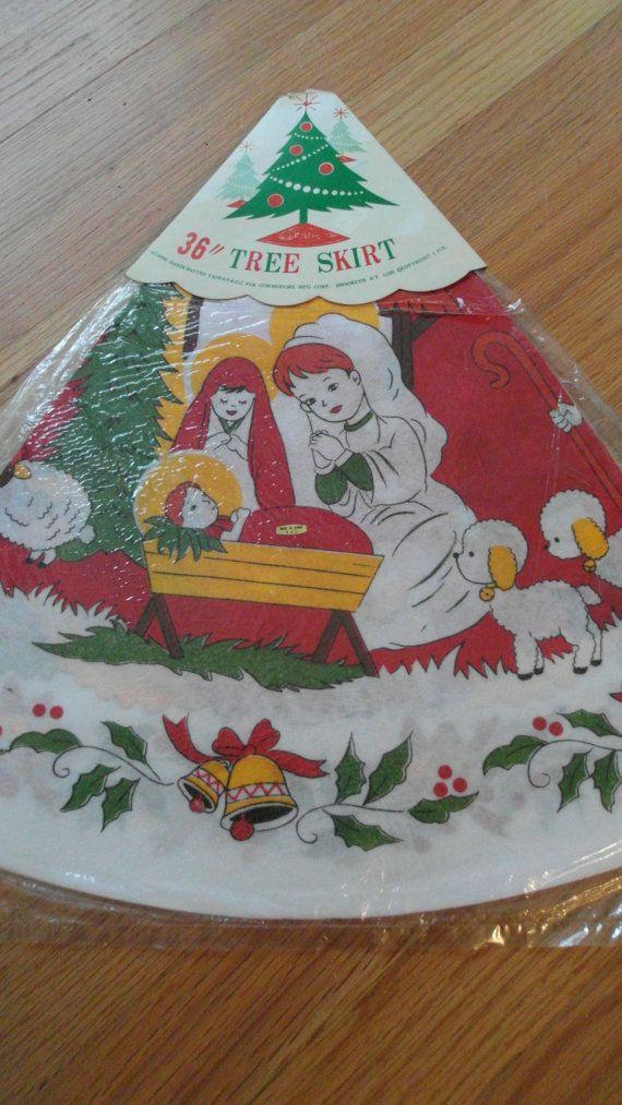 Vintage Felt Christmas Tree Skirt Nativity NOS