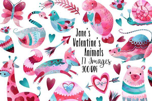 Valentines Day Animals Clipart - Illustrations