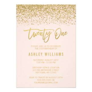 Modern Blush Pink Faux Gold Glitter 21st Birthday 13 Cm X 18 Cm Invitation Card