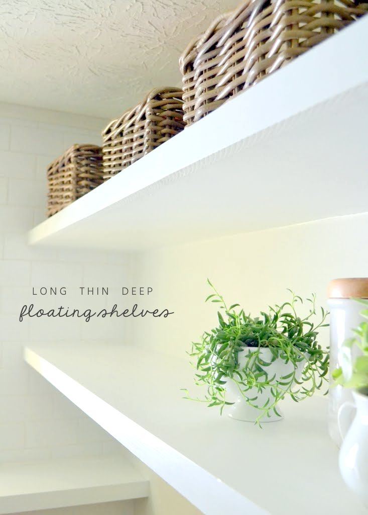 In this easy tutorial, I share free plans for how to create long, deep, and thin floating shelves with inexpensive materials.