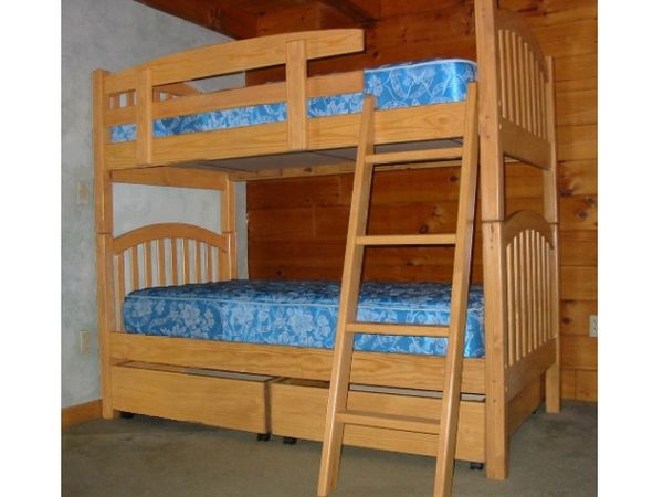 arched mission twin bunk bed with fruitwood stain lacquer clearcoat - Fruitwood Bedroom Furniture