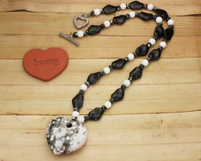 Necklace - Ocean Jasper Puffed Heart with Glass Twists, Chinese Writing Stone Rondelles, and Agate rounds on a Silk Cord (22 inches)