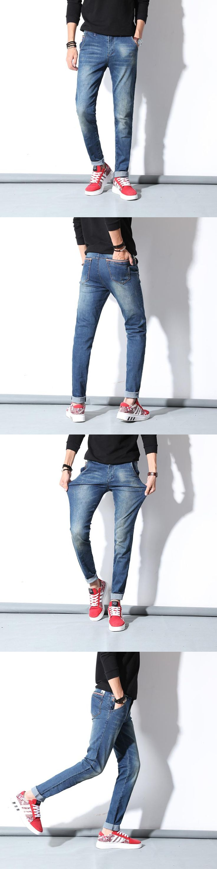 Men's Jeans Blue High Stretch Denim Brand Men Jeans  Casual Straight Denim Jeans Pants Business Relax Trousers Pantacourt Homme