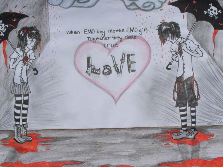 Emo Heart Drawings | ... broken-heart-boy-emo-love-anime ...