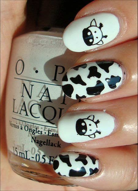 Cute (: Cow Nails Nail Art Swatches