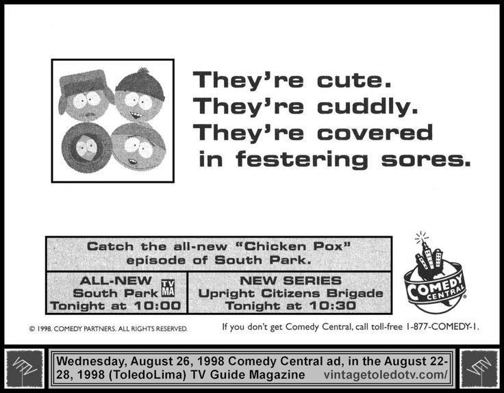 "Vintage Toledo TV - Vintage Cable Ads - Wednesday night shows on Comedy Central (8/26/98 TV Guide ad) South Park, ""Chicken Pox"" and Upright Citizens Brigade, ""Story of the Toad"""