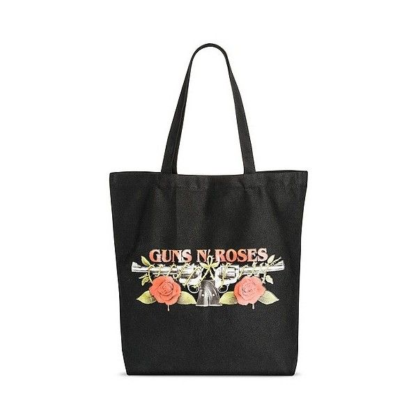 Women's Tote Handbag with Guns and Roses Logo ($12) ❤ liked on Polyvore featuring bags, handbags, tote bags, black, tote bag purse, tote purses, rose tote bag, man tote bag and hand bags