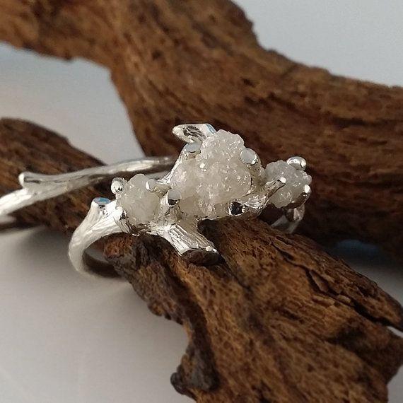 3 Diamond Twig Engagement Ring Raw Uncut by DawnVertreesJewelry