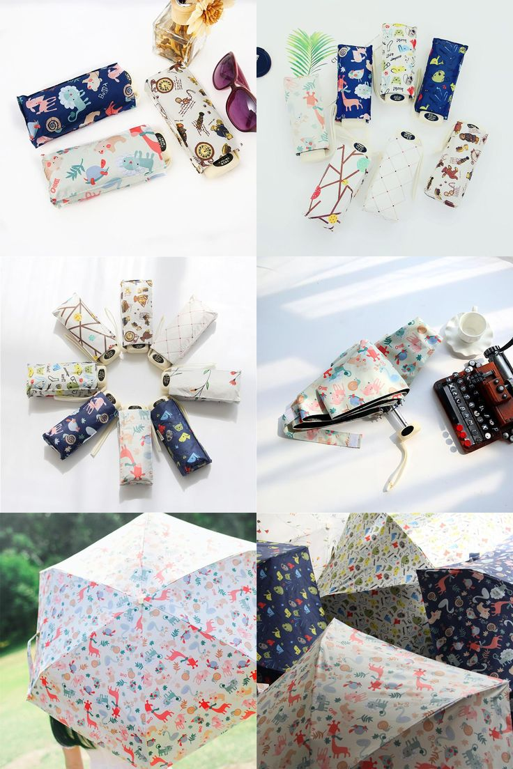[Visit to Buy] Umbrella Woman Mini Pockets Umbrella Small Folding Kid Dolls Print Umbrella Men Sun Rain Gear Parasol Umbrellas Bags For Women #Advertisement