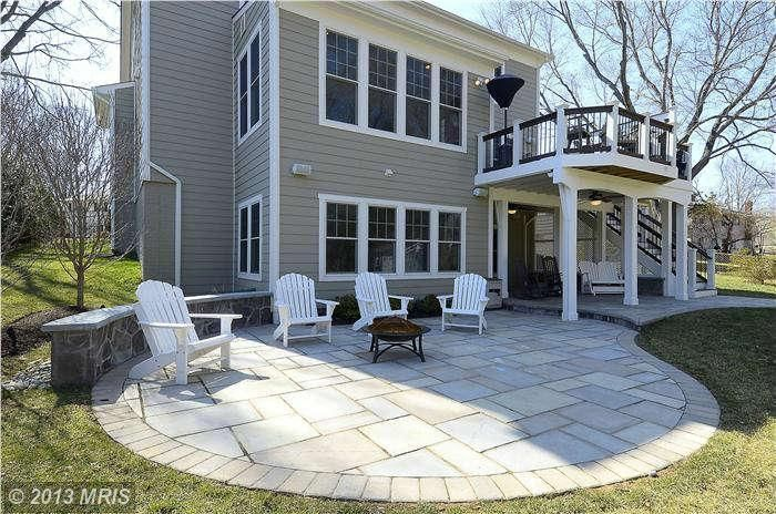 Connect using upper deck and screened in porch below.  Like the finished under deck and stone patio.
