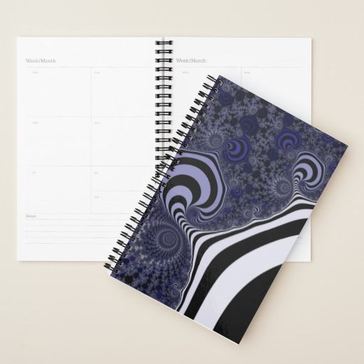 Blue and black striped fractal. planner #planner #customized #personalized #POD #graphics #artwork #buy #sale #giftideas #zazzle #discount #deals #gifts #shopping #mostpopular #trendy #cool #best #unique #stylish #gorgeous #abstract #bee #black #blue #coldcolors  #duotone #fractal #pattern #paw #locator #striped #suction #white #dark #funnystrips #modern