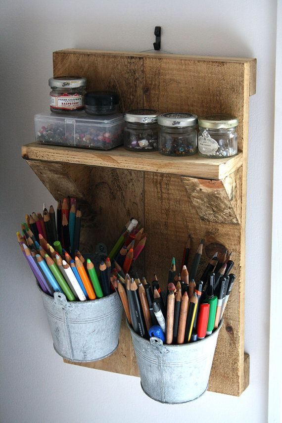 MADE TO ORDER // Rustic Reclaimed Wood Hanging Wall Tidy With Shelf & Buckets on Etsy, £35.00